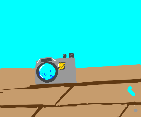Camera on a wooden surface