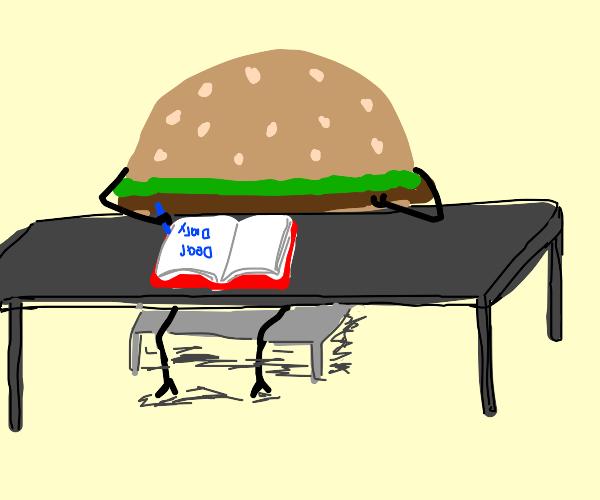 hamburger writing a diary