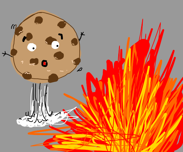 choc chip cookie surprised by a blast of fire