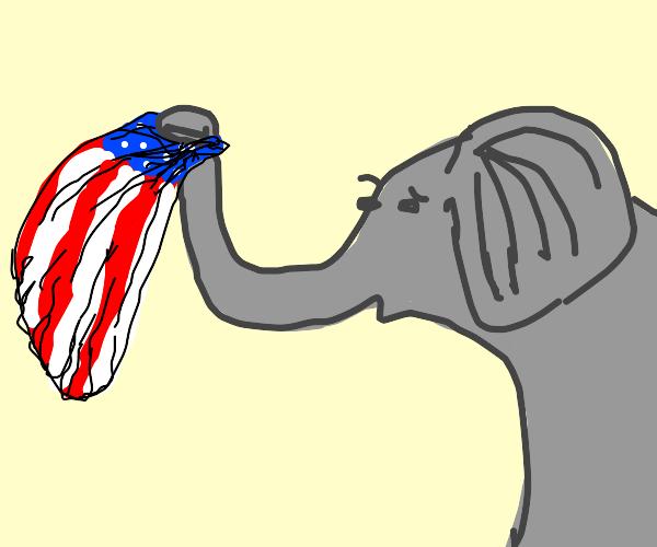 A confused elephant waves a U.S. flag.
