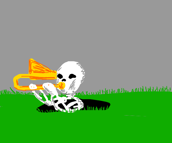 skeleton playing trombone in a hole