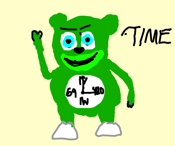 gummy bear clock waning about time