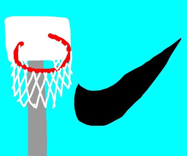 Nike logo and a basketball hoop