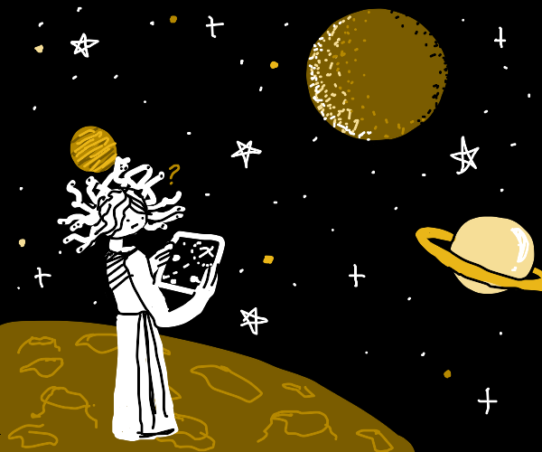 Hydra woman reads a map in space