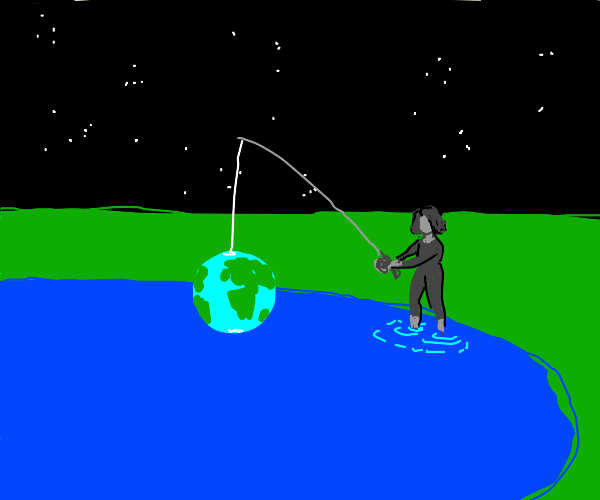 a girl fishing the earth
