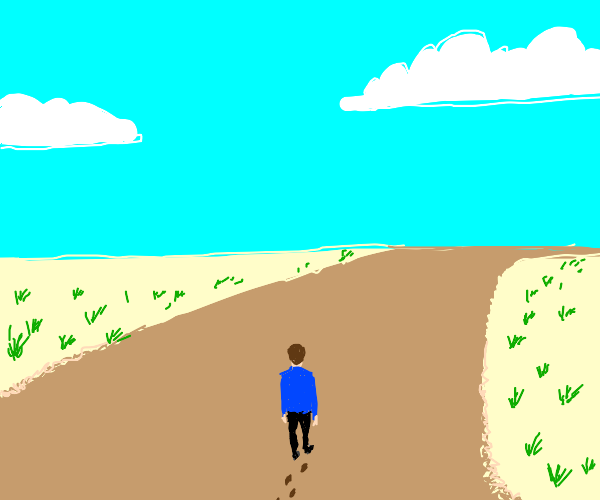 Tiny man walking on dirtroad