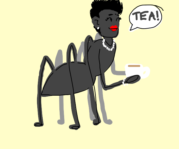fancy humanoid spider talk about tea