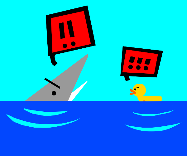 Shark and duck yelling at each other