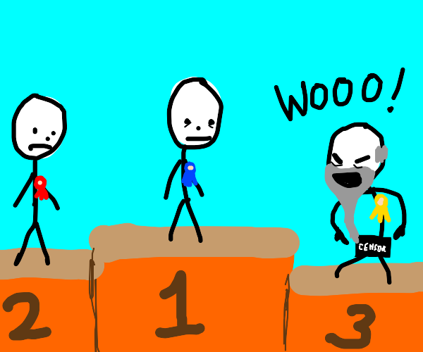 Naked old man in third place