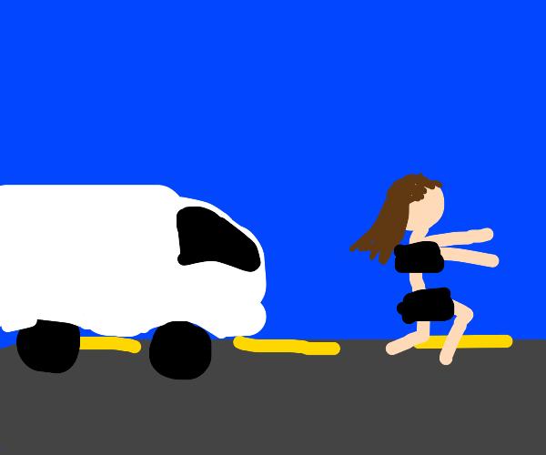 Lady running from predator