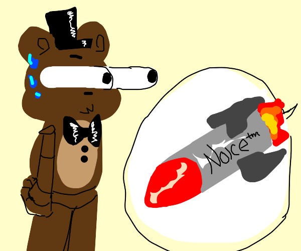 a bear is gonna be hit by a noice rocket