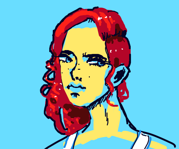 woman with red hair giving the side eye