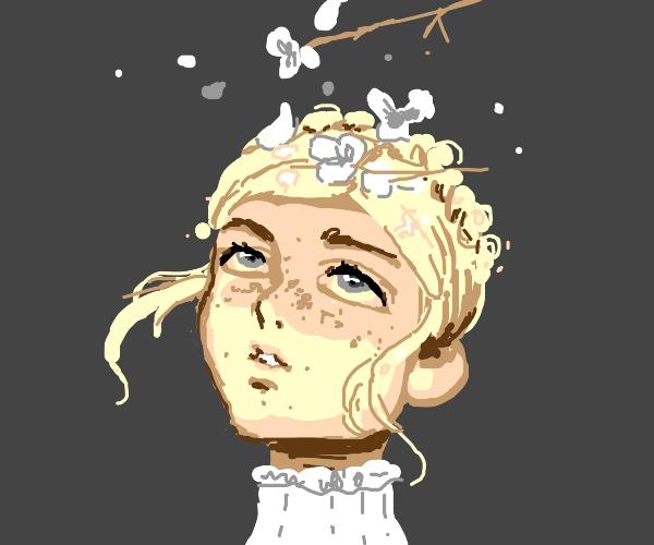 Flowers falling on lady's head