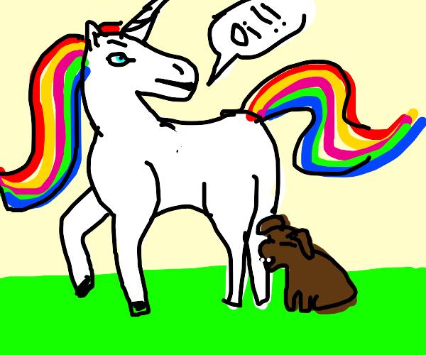 Dog eating a unicorn