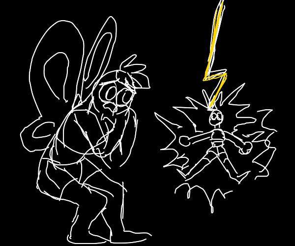 Lightning striking butterfly man's girlfriend