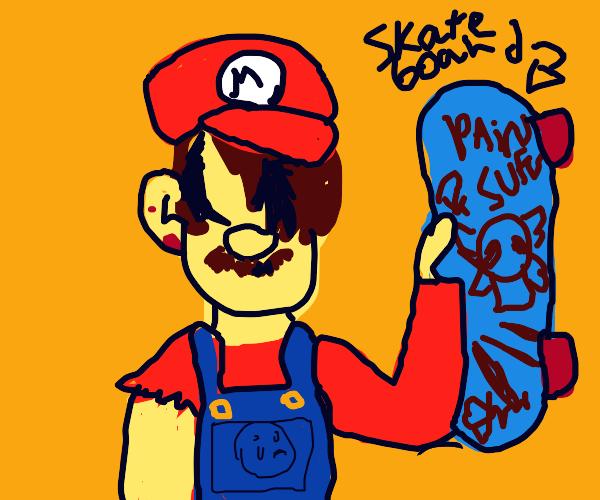 Edge lord Mario goes skateboarding