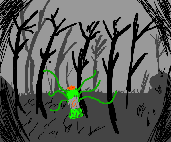 evil green gatorade in a dark forest