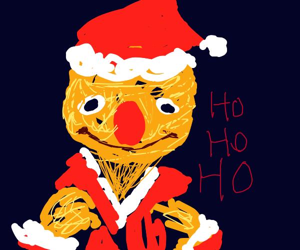 Yellmo in a Santa costume