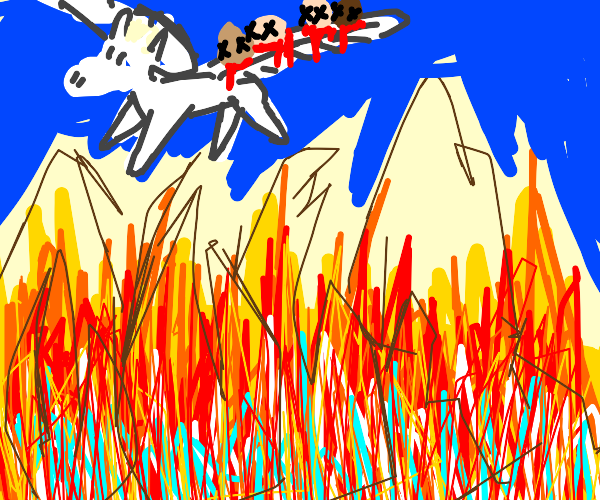 Pegasus flies four Human Heads over the fire
