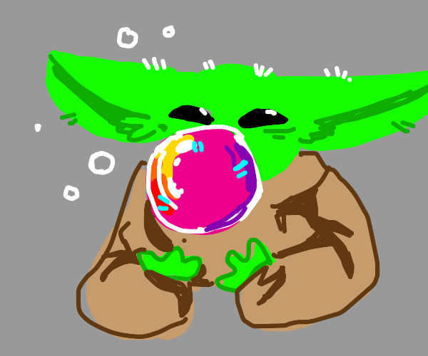 Baby yoda blowing a bubble with bubble gum