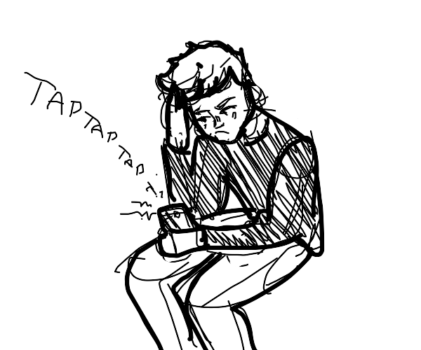 Bored guy on phone