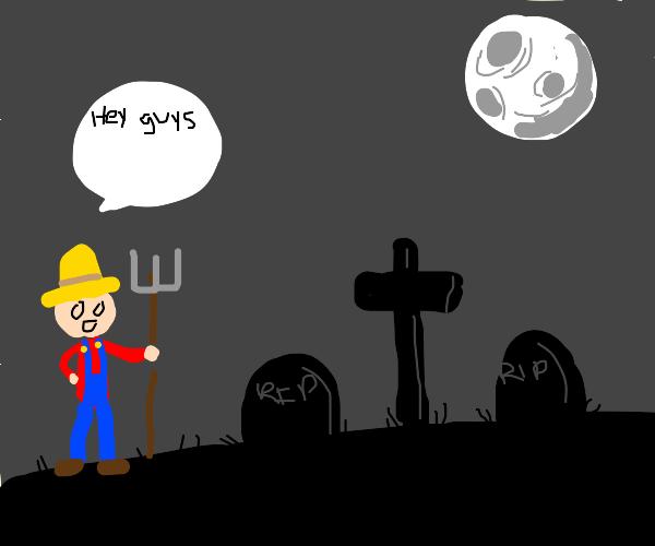 Farmer talks to a cemetery