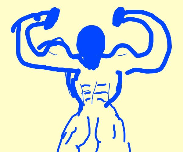 Blue man gains great strength