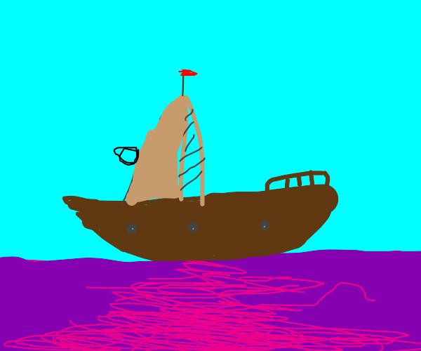 Pirate ship over purple acid