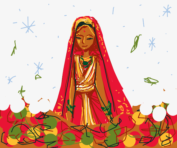 Indian(?) bride in snow, w/ leaves around her