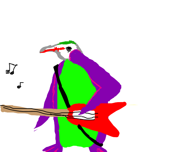 joker penguin playing electric guitar