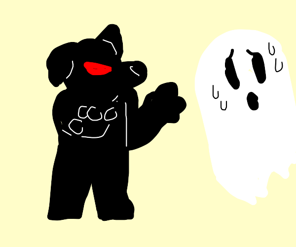 Dog scares ghost