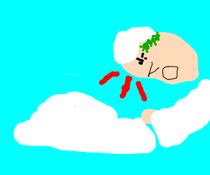 A greek god angry ad a scared cloud