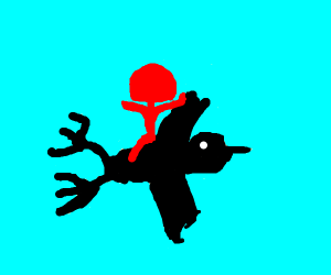 Red person flying on a bird