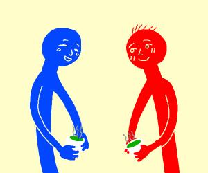 Red and Blue enjoying green tea