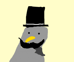 pidgeon with mustache and tophat