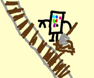 A Phone digging in a railroad