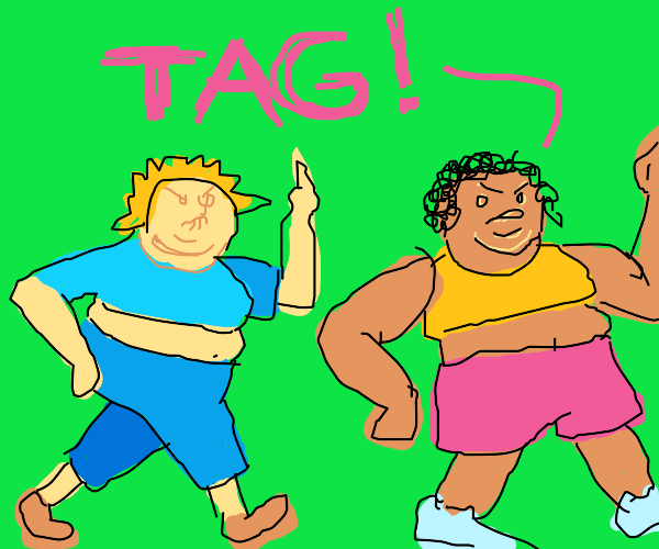obese people running and playing tag