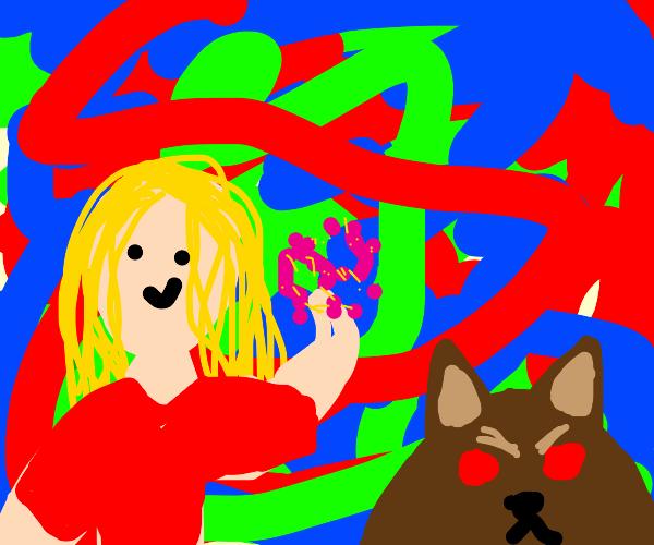 Magic girl has an evil pet dog