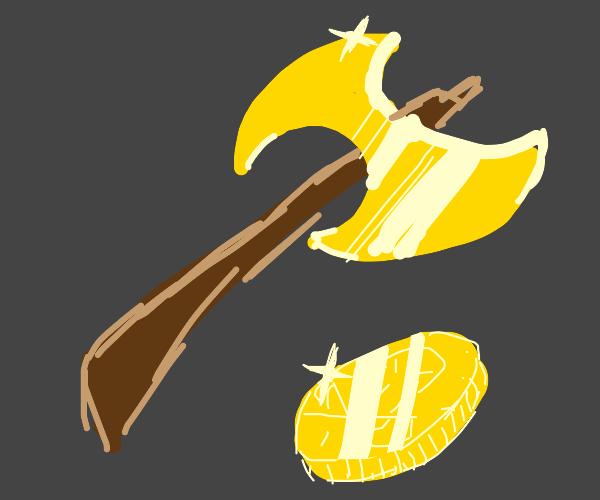 golden axe and coin