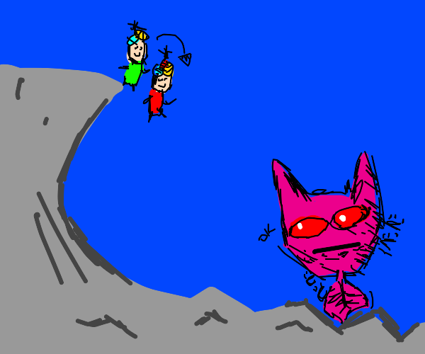 killer queen watches children jump off cliff