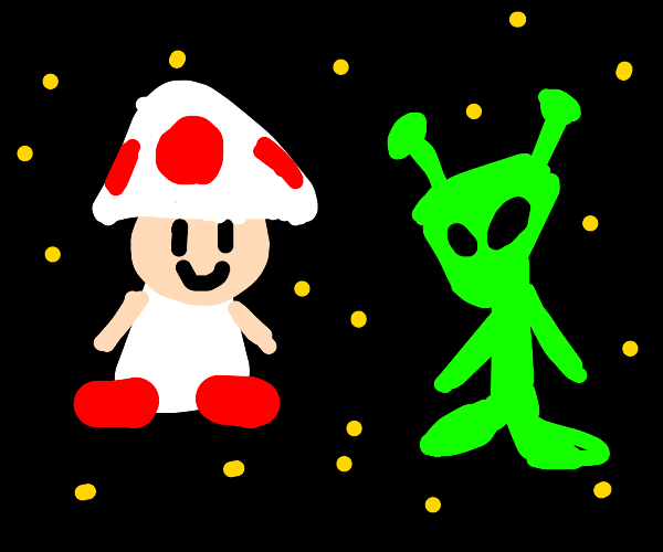 toad from mario kart with an alien
