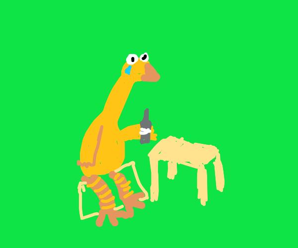Sesame Street Big Bird drinks sadness away