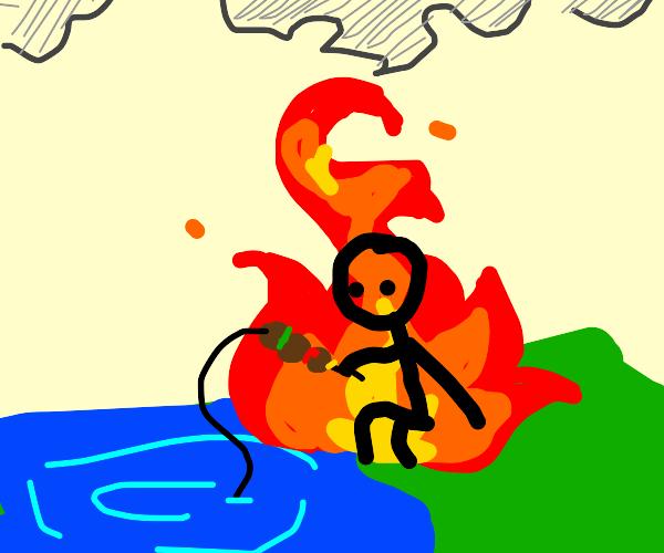 Burning man fishing with a kebab