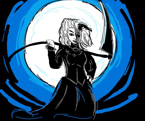 Grim reaper girl in the moonlight