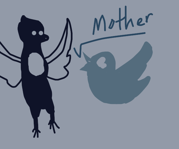 the twitter bird cries helplessly for its mom