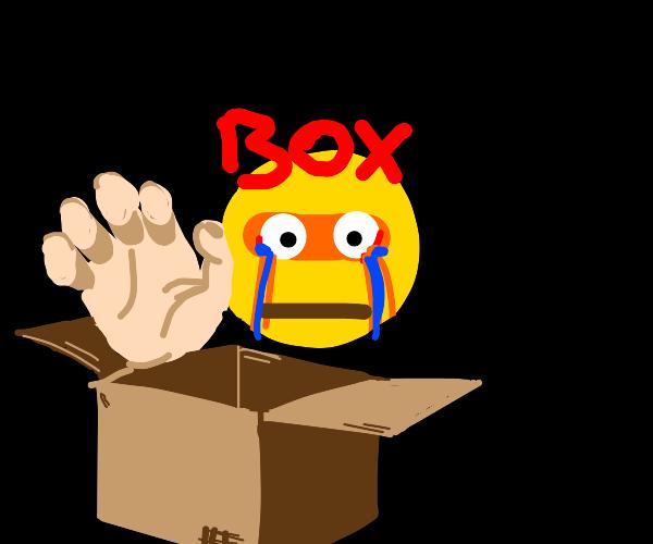 hands grabbing box