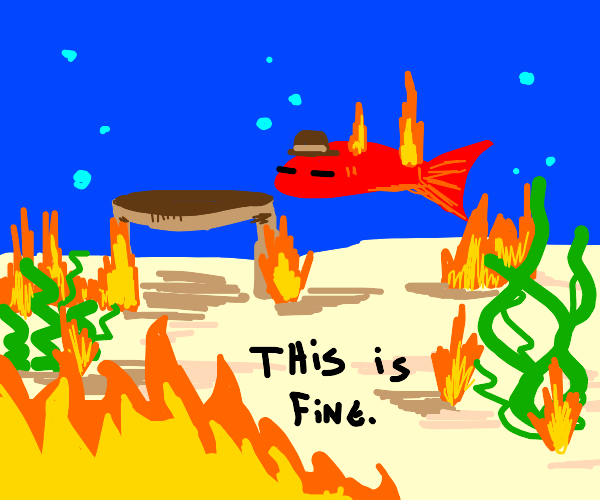 a fish on fire