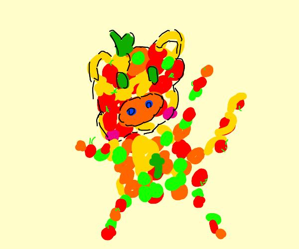 monkey made of fruit