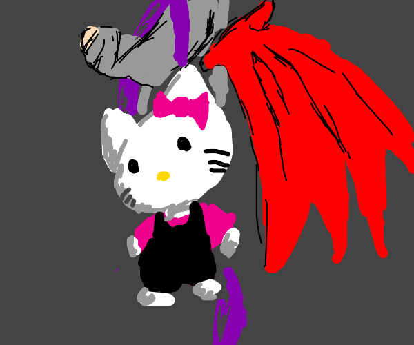 Devil with hello kitty backpack