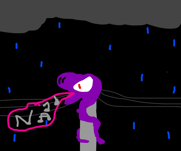 purple snake drains music power in a storm